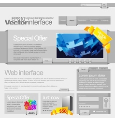 Gray website template 960 vector