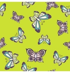 Hand drawn butterfly ink doodle seamless pattern vector image