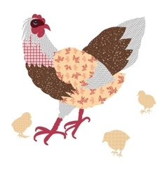 Hand drawn hens and chickens vector