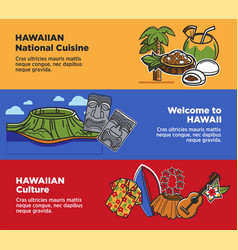 Hawaii travel landmarks and famous cukture vector