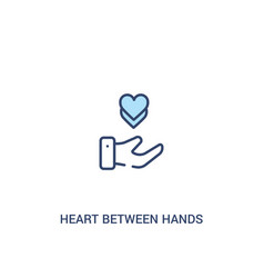 Heart between hands concept 2 colored icon simple vector