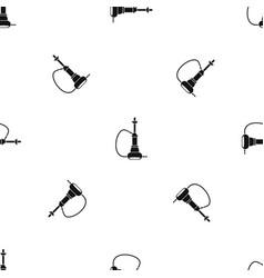 Hookah pattern seamless black vector