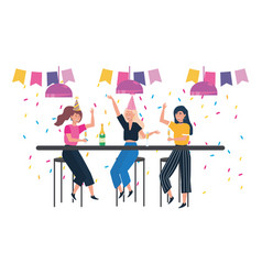 isolated women in a party design vector image