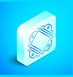 Isometric line ticket icon isolated on blue vector