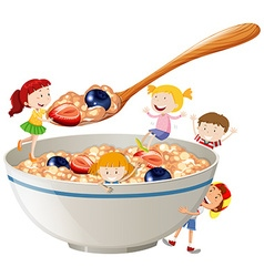 Kids and oatmeal with berries vector image