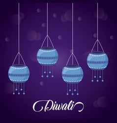 lanterns hanging diwali festival icon vector image