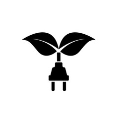 leaf with plug flat icon vector image