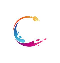 Letter c paintbrush logo vector