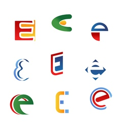 letter e symbols and icons vector image