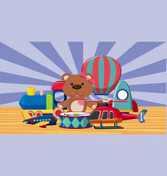 Many toys on wooden floor vector