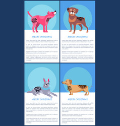 Merry christmas posters set with pedigree dogs vector