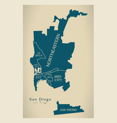Modern city map - san diego city of the usa with vector