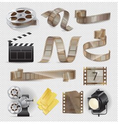 Movie equipments colourful collection vector