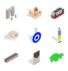Nationality icons set isometric style vector