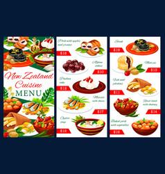 New zeland cuisine meals menu template vector