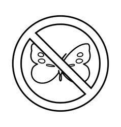 No butterfly sign icon outline style vector image