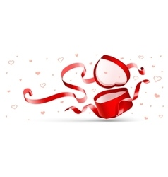 Open gift with red ribbon vector image