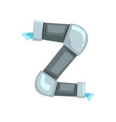 Original alphabet letter z made of gray water vector