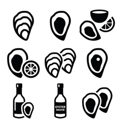 Oysters shell sauce - sea food icons set vector image