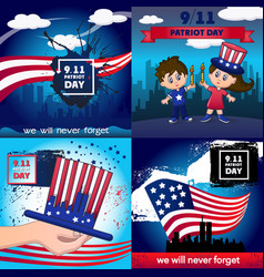 patriot day banner concept set cartoon style vector image