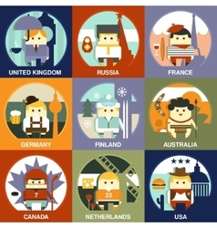 People of Different Nationalities Flat Style vector