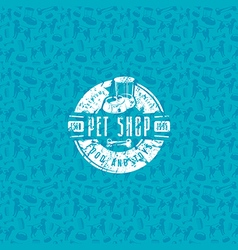 Pet shop seamless pattern and label vector image
