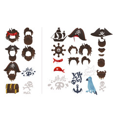 Pirates photo booth prop icon set vector