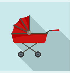 retro baby carriage icon flat style vector image