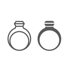 ring line and glyph icon jewelry and accessory vector image