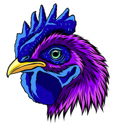 rooster head realistic vector image