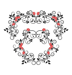 Roses on floral frame and border vector