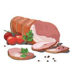 sausage smoked sausage vector image