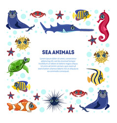 sea animals banner template with place for text vector image