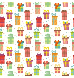 Seamless pattern with gift boxes Cute Birthday vector image