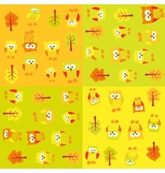 Seamless pattern with owls and trees in squares vector image