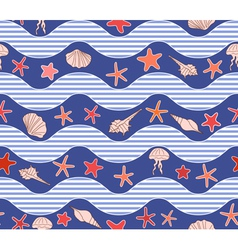 Seamless pattern with waves stars and jellyfish vector