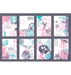 Set of eight cards with hand drawn abstract ink vector image