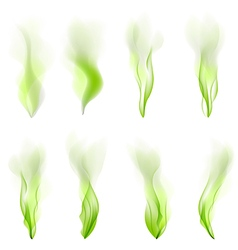 Set of green wave abstract background smoke line vector image vector image