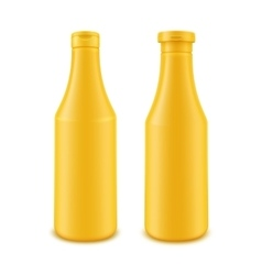 Set of Plastic Yellow Bottle for Branding vector