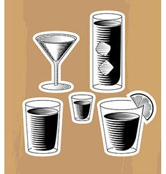 Set of woodcut cocktails vector image