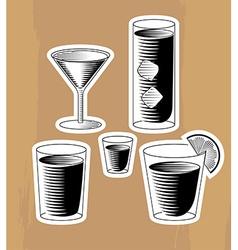 Set woodcut cocktails vector