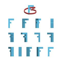 Sheet of sprites rotation of cartoon 3d letter f vector