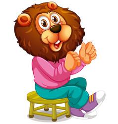 smiley lion cartoon character vector image