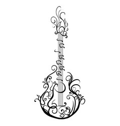stylized classical guitar retro guitar tattoo vector image