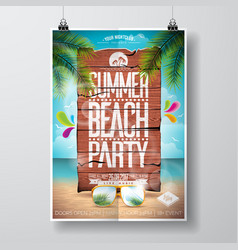 summer beach party flyer design with typographic vector image vector image