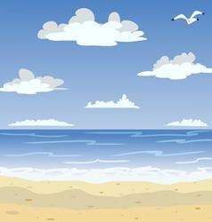 Sunny sea beach and blue sky vector