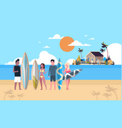 surfer team summer vacation people group surf vector image