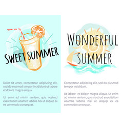 Sweet wonderful summer posters with fresh drink vector