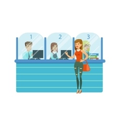 Three Bank Operators In Glass Cubicles And Woman vector