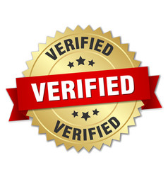Verified 3d gold badge with red ribbon vector